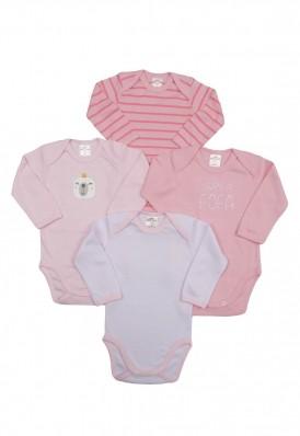 Kit 4 peças body Best Club Baby rosa com bordado urso