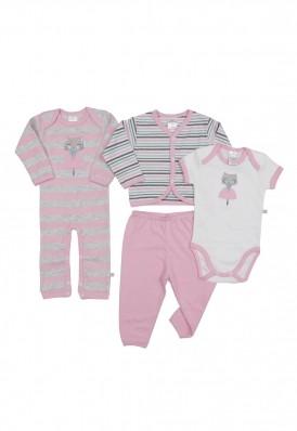 Kit 4 peças body, calça, casaco e minhocão Best Club Baby creme, cinza claro e rosa bordado gato