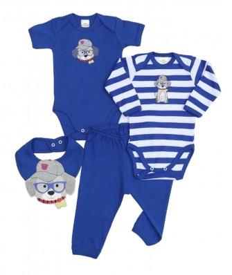 Kit 4 peças body, calça e babador Best Club Baby azul com bordado cachorro