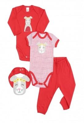 Kit 4 peças body, calça e babador Best Club Baby vermelho bordado cachorro