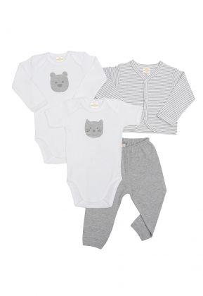 Kit 4 peças body, calça e casaco Best Club Baby cinza e branco com bordado urso e gato