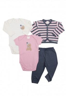 Kit 4 peças body, calça e casaco Best Club Baby rosa, creme e azul jeans com bordado urso