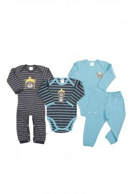 Kit 4 peças body, calça e minhocão Best Club Baby grafite e azul turquesa com bordado urso