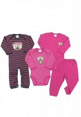 Kit 4 peças body, calça e minhocão Best Club Baby grafite e pink com bordado urso