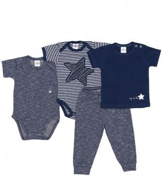 Kit 4 peças camiseta e body manga curta e calça Best Club Baby azul jeans e off white com bordado de estrela