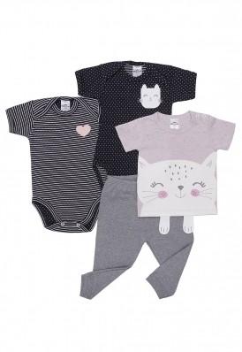 Kit 4 peças camiseta e body manga curta e calça Best Club Baby rosa, cinza e preto com bordado de flor