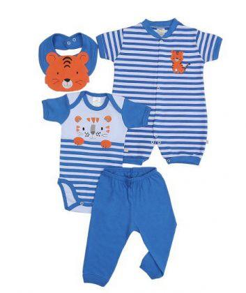Kit 4 peças macacão, body, calça e babador Best Club Baby azul e branco com bordado tigre