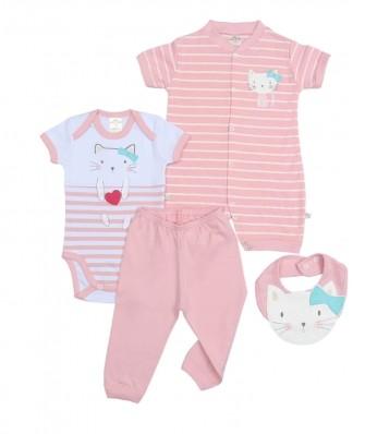 Kit 4 peças macacão, body, calça e babador Best Club Baby rosa claro e branco com bordado gato