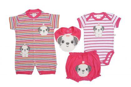 Kit 4 Peças Macacão, Body, Shorts E Babador Best Club Baby Pink Bordado Cachorro