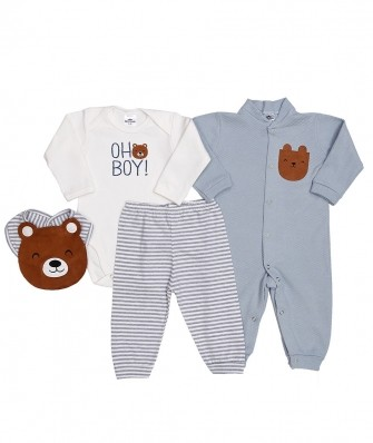 Kit 4 peças macacão e body manga longa, calça e babador Best Club Baby off white e azul claro com bordado urso