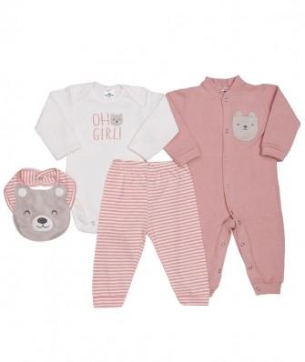 Kit 4 peças macacão e body manga longa, calça e babador Best Club Baby off white e rosa pessego com bordado urso