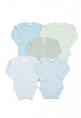 Kit 5 peças body Best Club Baby azul bebê e branco