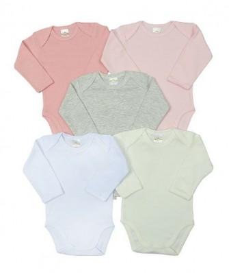 Kit 5 peças body Best Club Baby rosa bebê e branco