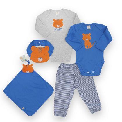 Kit 5 peças body, calça, babador e cheirinho Best Club Baby azul e cinza claro com bordado tigre