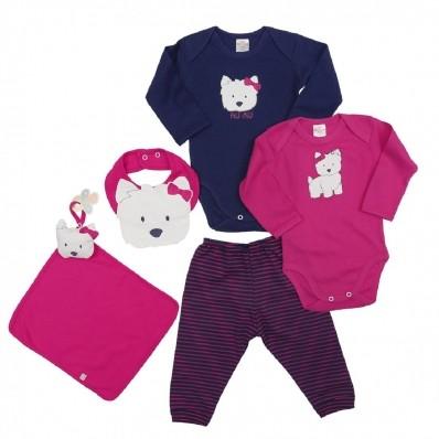 Kit 5 peças body, calça, babador e cheirinho Best Club Baby azul marinho e pink com bordado cachorro