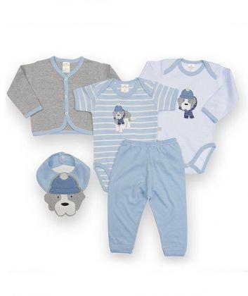 Kit 5 peças body, calça, casaco e babador Best Club Baby azul e cinza com bordado cachorro