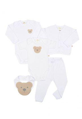 Kit 5 peças body, calça, casaco e babador Best Club Baby branco com bordado urso