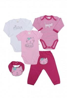 Kit 5 peças body, calça e babador Best Club Baby branco e rosa com bordado gato