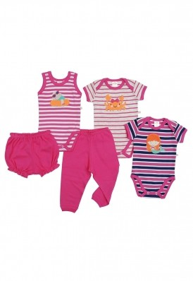 Kit 5 peças body, calça e shorts Best Club Baby pink bordado praia