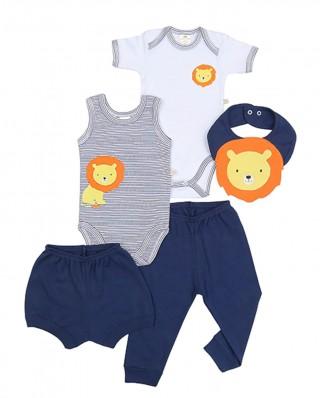 Kit 5 peças body, calça, shorts e babador Best Club Baby azul marinho e branco com bordado leão