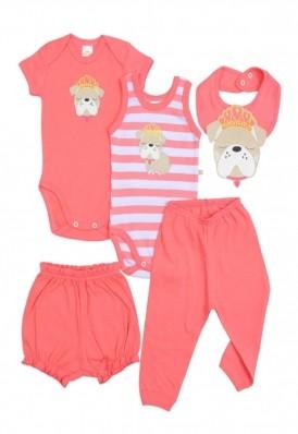 Kit 5 peças body, calça, shorts e babador Best Club Baby branco e rosa goiaba bordado cachorro