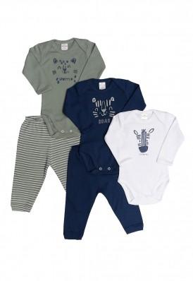 Kit 5 peças body e calça Best Club Baby azul marinho e verde com bordado bichos