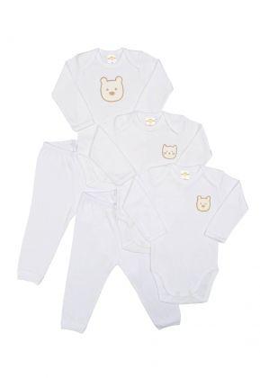 Kit 5 peças body e calça Best Club Baby branco com bordado urso