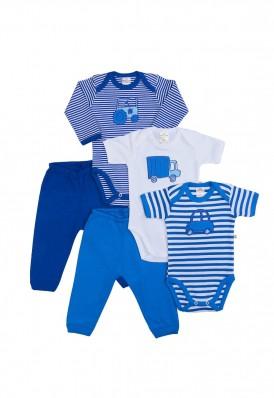 Kit 5 Peças Body E Calça Best Club Baby Branco E Azul Com Bordado Carros