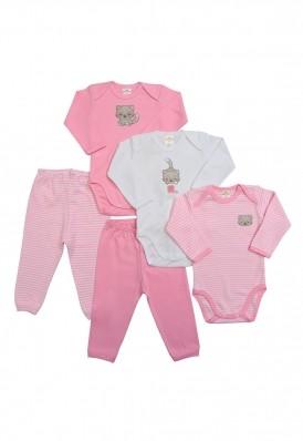 Kit 5 peças body e calça Best Club Baby listrado branco e rosa com bordado gato