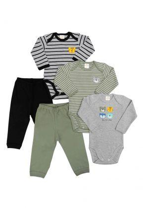Kit 5 peças body e calça Best Club Baby listrado cinza com preto e verde com bordado tigre e urso