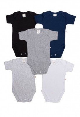 Kit 5 peças body manga curta Best Club Baby branco, cinza e preto