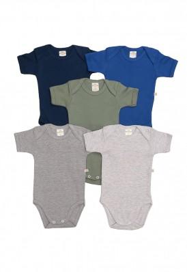 Kit 5 peças body manga curta Best Club Baby cinza, azul e verde