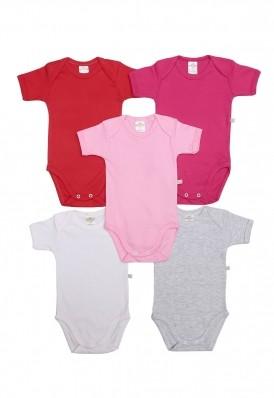 Kit 5 peças body manga curta Best Club Baby pink, vermelho e branco