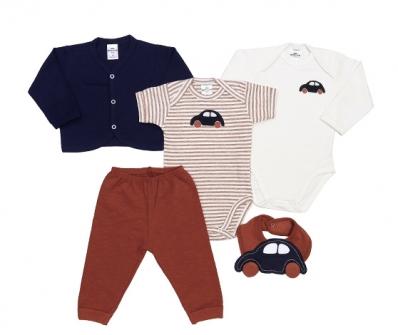 Kit 5 peças body manga curta e manga longa, calça, casaco e babador Best Club baby creme, ferrugem e marinho com bordado carro