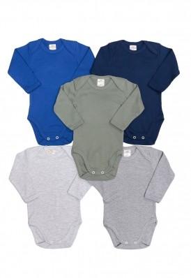 Kit 5 peças body manga longa Best Club Baby cinza, azul e verde