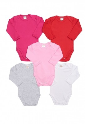 Kit 5 peças body manga longa Best Club Baby pink, vermelho e branco