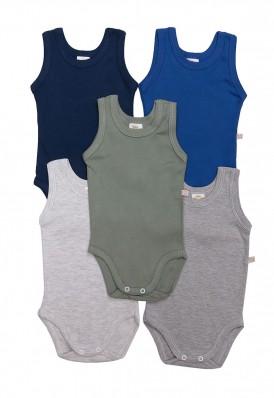 Kit 5 peças body regata Best Club Baby cinza, azul e verde
