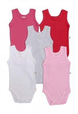 Kit 5 peças body regata Best Club Baby pink, vermelho e branco
