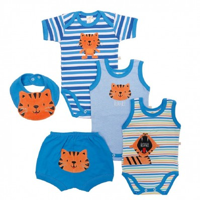 Kit 5 Peças Body, Shorts E Babador Best Club Baby Azul Com Bordado Tigre