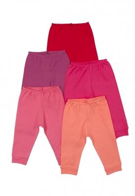 Kit 5 peças calça Best Club Baby vermelha, rosa e pink