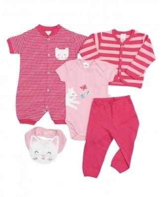 Kit 5 peças macacão, body, calça, casaco e babador Best Club Baby rosa e pink bordado gato