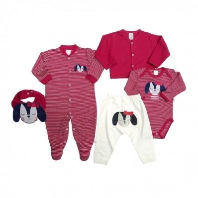 Kit 5 peças macacão, body, calça, casaco e babador Best Club Baby vermelho e creme com bordado cachorro