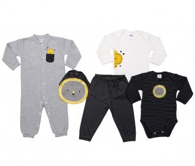 Kit 5 peças macacão, body manga longa, calça e babador Best Club Baby creme, cinza e preto com bordado de leão