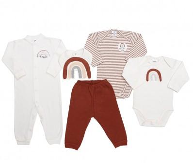 Kit 5 peças macacão, body manga longa, calça e babador Best Club Baby creme e ferrugem com bordado de arco íris
