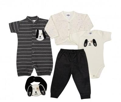 Kit 5 peças macacão curto, body manga curta, calça, casaco e babador Best Club Baby creme e grafite com bordado cachorro
