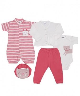 Kit 5 peças macacão curto, body manga curta, calça, casaco e babador Best Club Baby off white e rosa goiaba com bordado gato