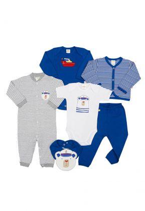 Kit 6 peças macacão, body, calça, casaco e babador Best Club Baby branco, azul e cinza com bordado urso marinheiro