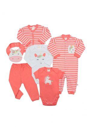 Kit 6 peças macacão, body, calça, casaco e babador Best Club Baby branco e rosa goiaba com bordado unicórnio
