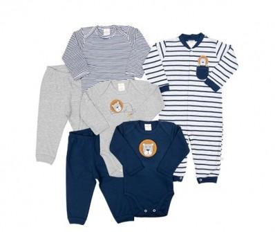 Kit 6 peças macacão, body e calça Best Club Baby azul marinho e cinza com bordado leão