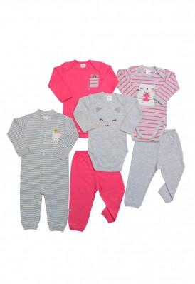 Kit 6 peças macacão, body e calça Best Club Baby pink e cinza claro com bordado gato